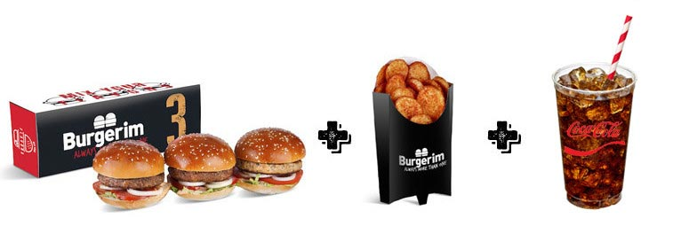 Three Burgers plus Potato Rounds plus Large Drink meal - Burgerim Montclair
