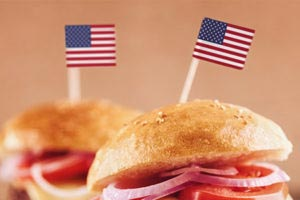 Burger Franchise Opportunities for Veterans represented by Mini Burgers with American Flag in Them