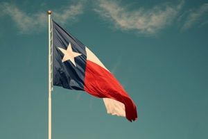 Texas Flag Flying in the Air