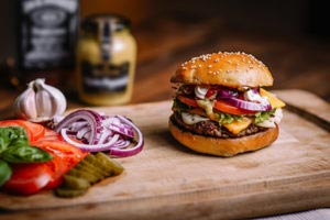Gourmet Burger with multiple toppings help make Burgerim the best burger in Montclair